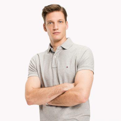 TOMMY HILFIGER pánské polo tričko světle šedé