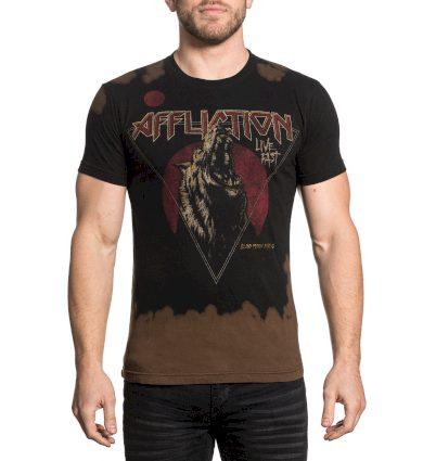 Affliction pánské tričko černo-hnědé BLOOD MOON