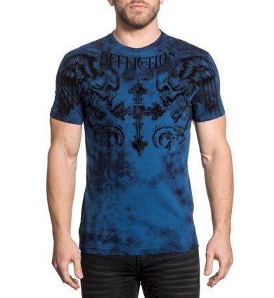 Affliction pánské tričko modré FRAGMENTED