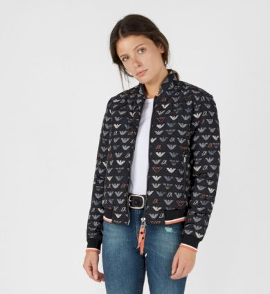 Emporio Armani dámská černá bunda s motivem