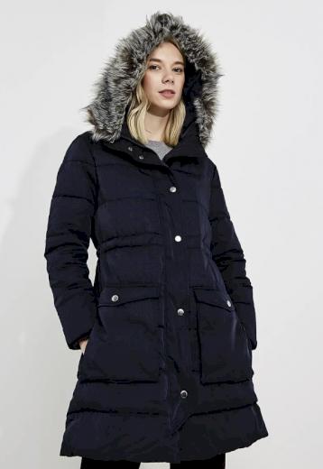 Emporio Armani dámská bunda tmavě modrá s kapucí