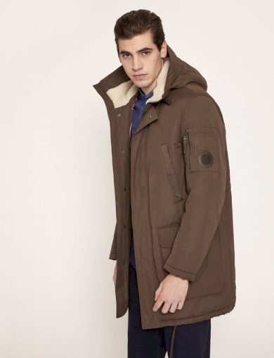 Emporio Armani pánská zimní bunda hnědá s kapucí