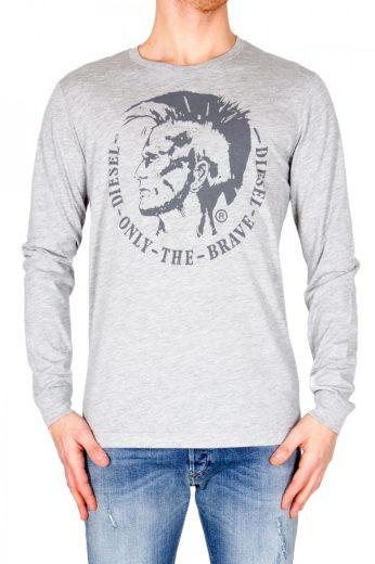 Diesel pánské šedé tričko s dlouhým rukávem