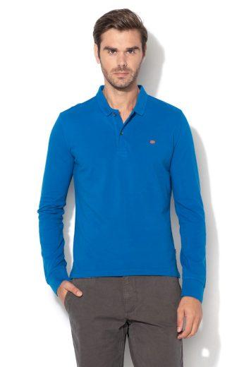 NAPAPIJRI pánské modré polo tričko s dlouhým rukávem
