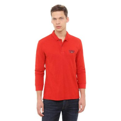 NAPAPIJRI pánské červené polo tričko s dlouhým rukávem