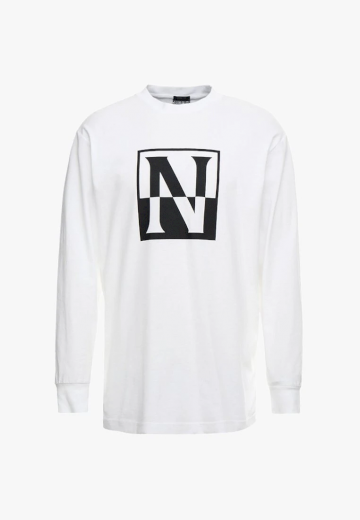 NAPAPIJRI bílé tričko s dlouhým rukávem UNISEX