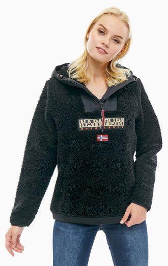 NAPAPIJRI dámská černá bunda s kapucí s huňatým povrchem TEIDE