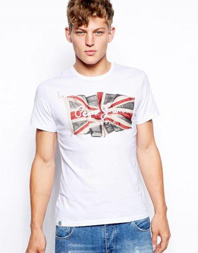 Pepe Jeans pánské bílé tričko FLAG LOGO