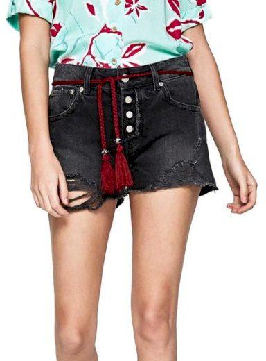 Pepe Jeans dámské černé denim kraťasy Bonita black