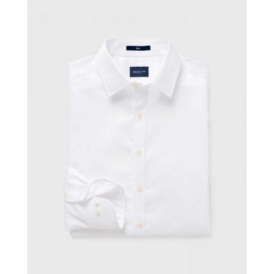 GANT pánská bílá košile stretch plain sateen slim town