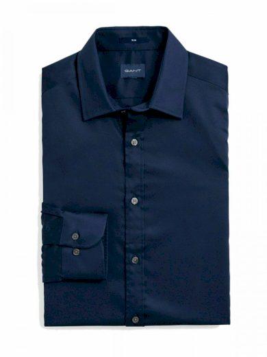 GANT pánská tmavě modrá košile stretch plain sateen slim town