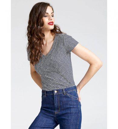 GUESS dámské proužkové bílo-černé tričko