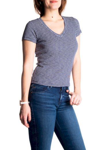 GUESS dámské proužkové bílo-modré tričko
