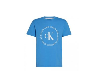 Calvin Klein pánské modré tričko CK ROUND LOGO REG TEE