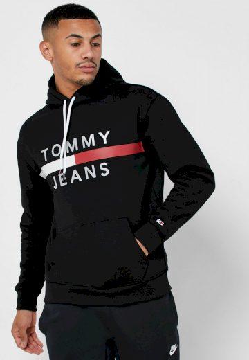 TOMMY JEANS pánská černá mikina s kapucí