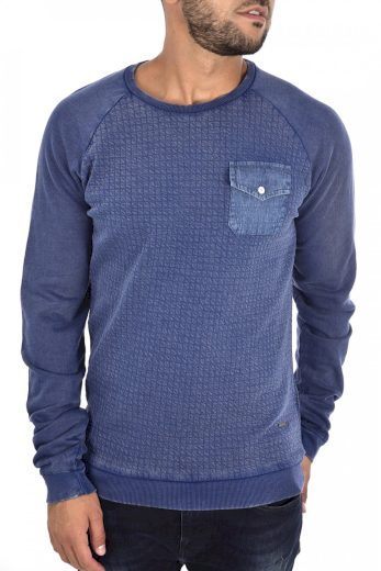 GUESS pánské modré tričko s dlouhým rukávem