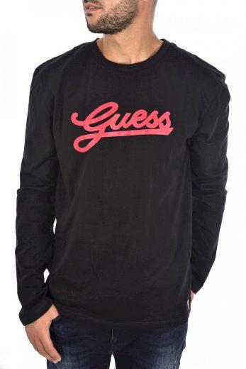 GUESS pánské černé tričko s dlouhým rukávem