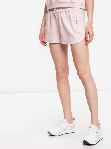 GUESS dámské světle růžové teplákové kraťasy Short Pant