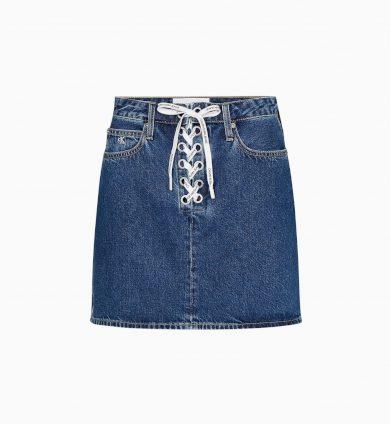 Calvin Klein dámská modrá džínová sukně HIGH RISE MINI SKIRT