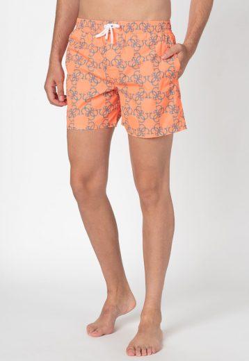 GUESS pánské oranžové plavky s monogramy WOVEN MEDIUM