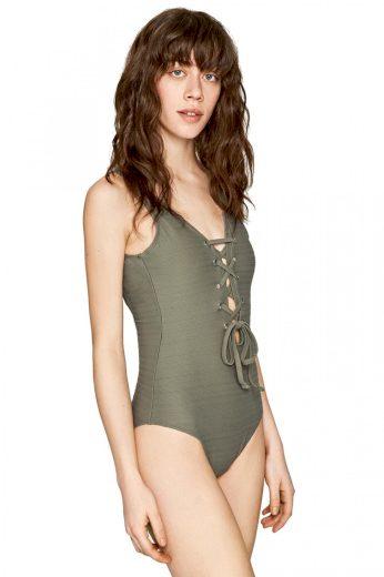 Pepe Jeans dámské tmavě zelené plavky Della