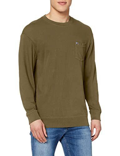 TOMMY JEANS pánské hnědé tričko s dlouhým rukávem Tjm Washed Graphic