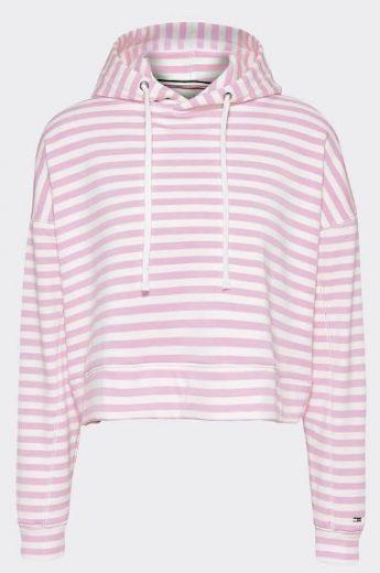 Tommy Jeans dámská růžová mikina s kapucí Stripe Hoodie