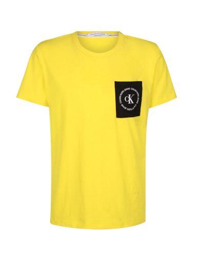Calvin Klein pánské žluté tričko Round Logo Reg PCKT Tee