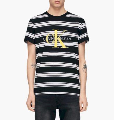Calvin Klein pánské černé tričko s pruhy a znakem CK na hrudi MONOGRAM STRIPE REG TEE