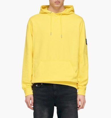Calvin Klein pánská žlutá mikina Monogram Sleeve Badge Hoodie