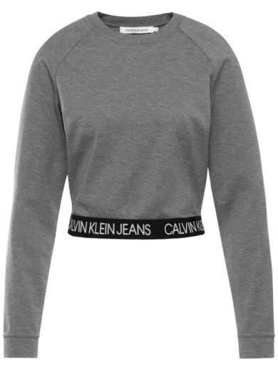 Calvin Klein dámská šedá mikina MILANO LS CREW NECK
