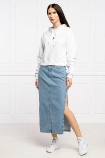 Calvin Klein dámská dlouhá světle modrá džínová sukně s rozparkem MAXI SKIRT