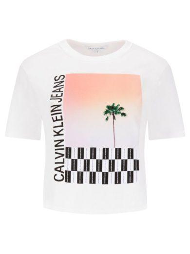 Calvin Klein dámské bílé tričko s potiskem PALM TREE PHOTO LOGO SLIM TEE