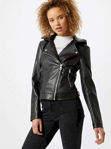 Calvin Klein černá koženková bunda s kapucí FAUX LEATHER HOODED JACKET