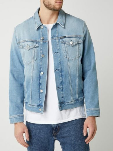 Calvin Klein pánská modrá denim bunda FOUNDATION SLIM DENIM JACKET