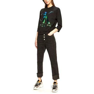 Calvin Klein dámská černá mikina s metalickým logem CK IRIDESCENT MONOGRAM CREW NECK