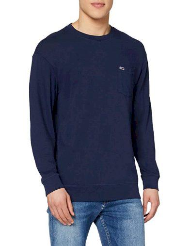 TOMMY JEANS pánské tmavě modré tričko s dlouhým rukávem Tjm Washed Graphic
