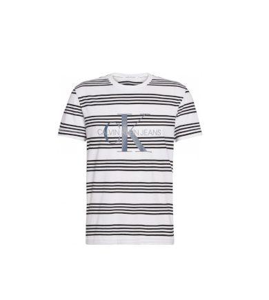 Calvin Klein pánské bílé tričko s pruhy MONOGRAM STRIPE REG TEE