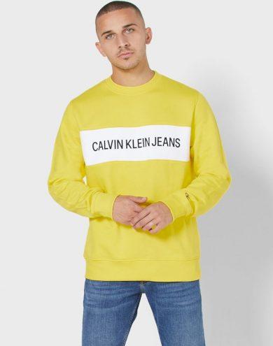 Calvin Klein pánská žlutá mikina INSTIT CONTRAST PANEL REG CN