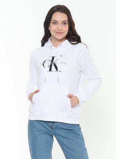Calvin Klein dámská bílá mikina s kapucí MONOGRAM RELAXED HOODIE