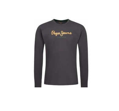 Pepe Jeans pánské tmavě šedé tričko s dlouhým rukávem EGGO LONG