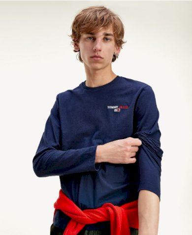 TOMMY JEANS pánské modré tričko s dlouhým rukávem SLIM FIT LONGSLEEVE T-SHIRT