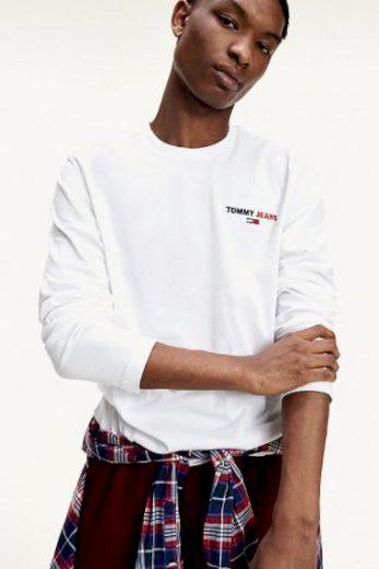 TOMMY JEANS pánské bílé tričko s dlouhým rukávem SLIM FIT LONGSLEEVE T-SHIRT