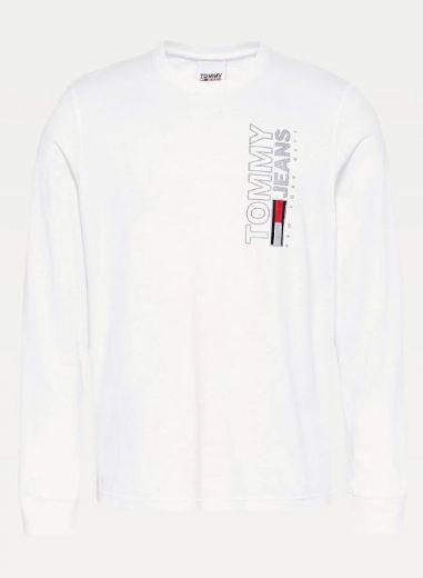 TOMMY JEANS pánské bílé tričko s dlouhým rukávem TJM VERTICAL TEE