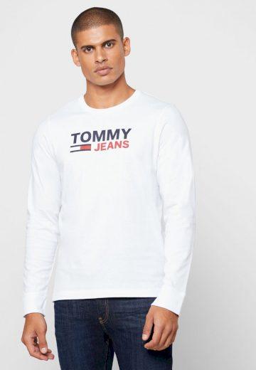 TOMMY JEANS pánské bílé tričko s dlouhým rukávem SUSTAINABLE LOGO LONGSLEEVE T-SHIRT