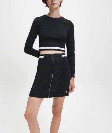 Calvin Klein dámská černá elastická sukně MILANO JERSEY ZIP UP MINI SKIRT