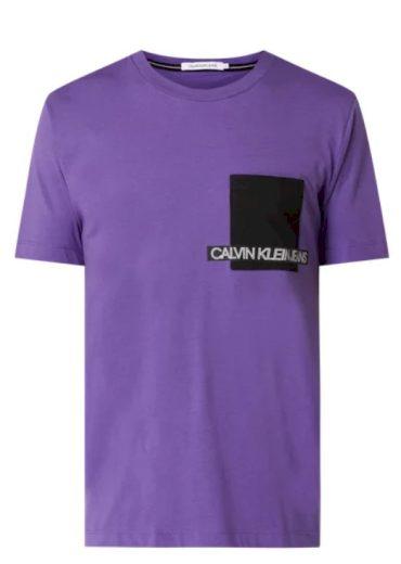 Calvin Klein pánské fialové tričko ORGANIC COTTON POCKET T-SHIRT