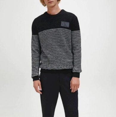 Calvin Klein pánský černý svetr TEXTURED STRIPED CN SWEATER