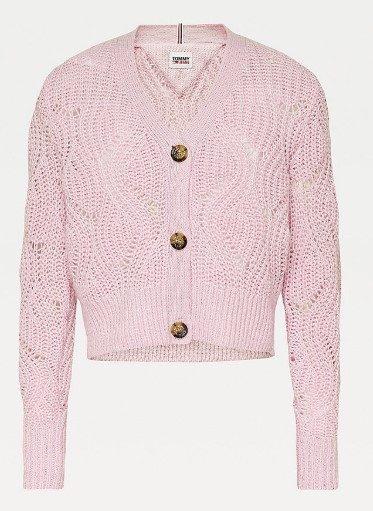 Tommy Jeans dámský růžový svetr TJW POINTELLE CARDIGAN