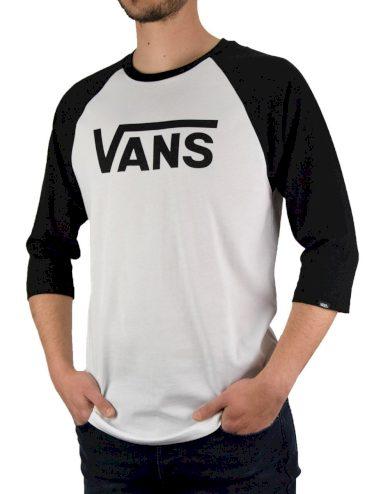 VANS pánské černo bílé tričko MN VANS CLASSIC RAGLAN